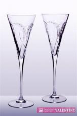 Svadobné poháre dvojsrdce  použité swarovského komponenti
