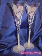 Svadobné poháre  elegantné srdcia