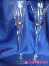 Svadobné poháre so srdiečkami bielymi