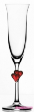 Svadobné poháre červené srdiečka