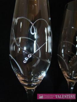 Svadobné poháre srdce ,swarovské kamienky