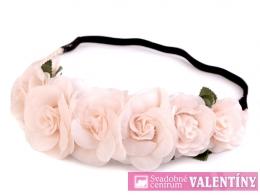 kvetinová čelenka ružová pudrová