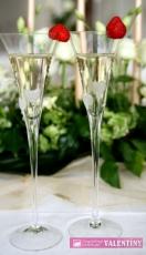 Svadobné poháre srdiečka biele