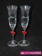 Srdiečka červené svadobné poháre  zvončekové
