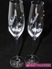 Svadobné poháre -kvietky swarovske komponenty