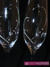 Svadobné poháre jemné srdce so swarovského kryštálmi