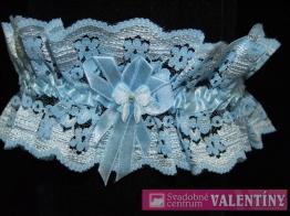 podväzok krajkový modrá mašlička