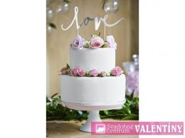 ozdoba na tortu love strieborná