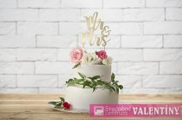 Ozdoba na tortu MR & MRS zlatá