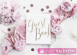 "kniha hostí biela,,Guest Book"" zlatý nápis"