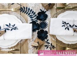 papierové kvety 3ks v balení  tmavá modra