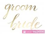 Dekorácia zlatá Bride, Groom