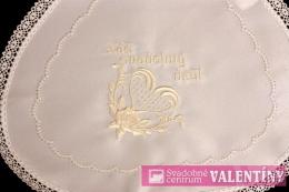 svadobný podbradník biely výšivka krémová