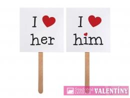 "Tabuľky"" I LOVE HIM"" I LOVE HER"