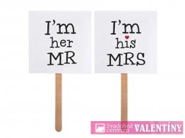 "Tabuľky na fotenie,,I´m her MR"" I´m his MRS"