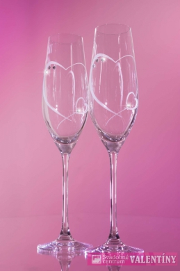 Svadobné poháre srdiečka +swarovski kamienky