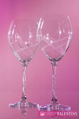 Poháre na víno +swarovské komponenty