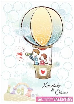 plagát zaľúbenci v balóne