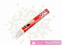 vystrelovacie konfety srdiečka biele 60cm